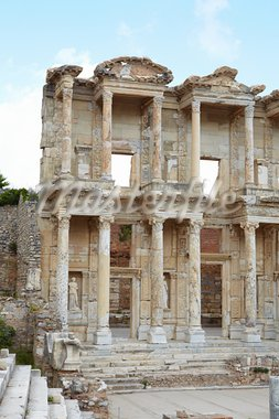 The remains and statues of the enormous Library of Celsus in the city of Ephesus in modern day Turkey Stock Photo - Royalty-Free, Artist: Forgiss                       , Code: 400-05885527