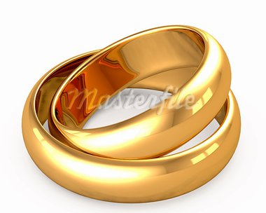 3d wedding gold rings on white background Stock Photo - Royalty-Free, Artist: Iraidka                       , Code: 400-05886038