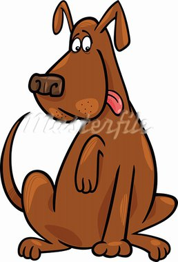 Cartoon illustration of funny brown sitting dog Stock Photo - Royalty-Free, Artist: izakowski                     , Code: 400-05886601