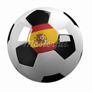 Soccer Ball with the flag of Spain on it - highly detailed clipping path included Stock Photo - Royalty-Free, Artist: badboo                        , Code: 400-05887108