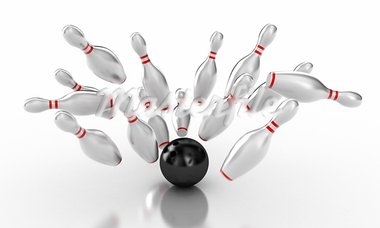 Illustration of a ball and skittles for bowling Stock Photo - Royalty-Free, Artist: FotoVika                      , Code: 400-05887558