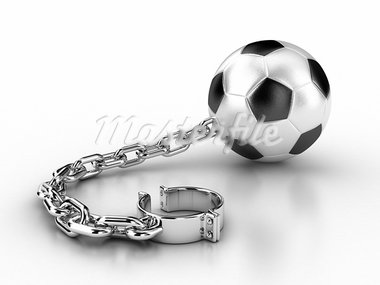 Illustration of a football ball with a chain and handcuffs Stock Photo - Royalty-Free, Artist: FotoVika                      , Code: 400-05887571