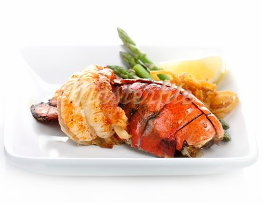 Grilled Lobster Tail Served With Asparagus And Onion Stock Photo - Royalty-Free, Artist: svetlanna                     , Code: 400-05888012