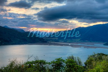 Beautiful sunset scene overlooking a lake in New Zealand Stock Photo - Royalty-Free, Artist: alexeys                       , Code: 400-05888364