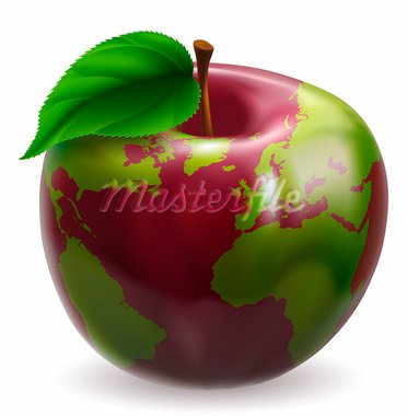 Red and green apple with world globe pattern on skin Stock Photo - Royalty-Free, Artist: Krisdog                       , Code: 400-05888604