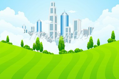 Green landscape with trees and city in clouds Stock Photo - Royalty-Free, Artist: WaD                           , Code: 400-05889856