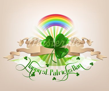 Happy St. Patrick's Day background with green trefoil, rainbow and text. Stock Photo - Royalty-Free, Artist: tatianat                      , Code: 400-05890046