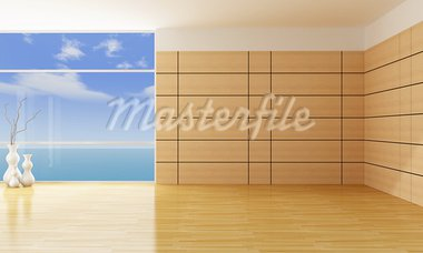 empty living room with wooden panels - rendering Stock Photo - Royalty-Free, Artist: archidea                      , Code: 400-05890212