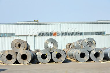 rolls of steel sheet in harbor Stock Photo - Royalty-Free, Artist: jordache                      , Code: 400-05890414