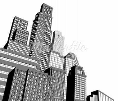 Monochrome gray and black and white city illustration with dramatic perspective Stock Photo - Royalty-Free, Artist: Krisdog                       , Code: 400-05890584