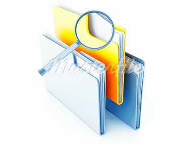 yellow and blue folders with papers under magnification Stock Photo - Royalty-Free, Artist: Serp                          , Code: 400-05891302