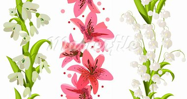 Samless borders made of spring flowers Stock Photo - Royalty-Free, Artist: nurrka                        , Code: 400-05891554