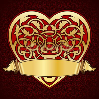 Ornamental heart with gold ribbon for valentine day Stock Photo - Royalty-Free, Artist: zybr                          , Code: 400-05893314