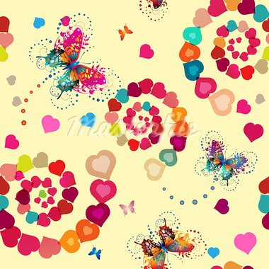Seamless pattern with hearts and butterflies for Valentine's day Stock Photo - Royalty-Free, Artist: Merlinul                      , Code: 400-05894179