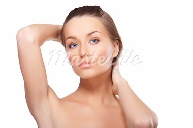 Closeup portrait of beautiful female model with blue eyes on white background Stock Photo - Royalty-Free, Artist: mtoome                        , Code: 400-05895828