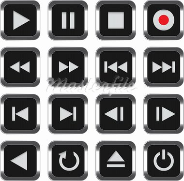 Black multimedia control icon set. Vector illustration Stock Photo - Royalty-Free, Artist: mmar                          , Code: 400-05896612