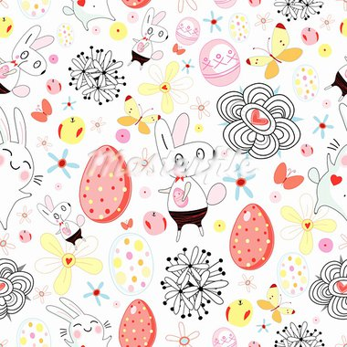 Seamless floral pattern with easter rabbits and eggs on a white background Stock Photo - Royalty-Free, Artist: tanor                         , Code: 400-05896650