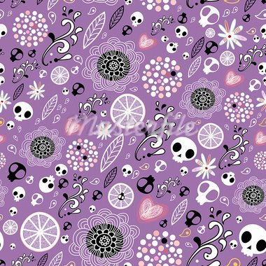 seamless abstract pattern with skulls and flowers on purple background Stock Photo - Royalty-Free, Artist: tanor                         , Code: 400-05896652