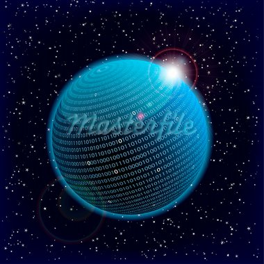 illustration of a binary data information sphere Stock Photo - Royalty-Free, Artist: unkreatives                   , Code: 400-05898366