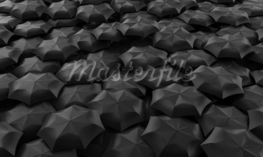 Illustration of many dark umbrellas collected in one place Stock Photo - Royalty-Free, Artist: FotoVika                      , Code: 400-05899417