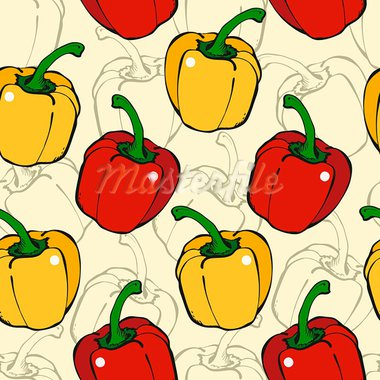 Seamless background from red and yellow pepper on a beige Stock Photo - Royalty-Free, Artist: fandorina                     , Code: 400-05899754