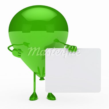 green party balloon shows finger on billboard Stock Photo - Royalty-Free, Artist: dak                           , Code: 400-05899812