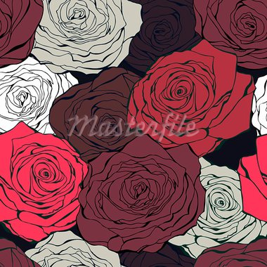 Vintage background from hand drawn roses on a dark Stock Photo - Royalty-Free, Artist: fandorina                     , Code: 400-05899854