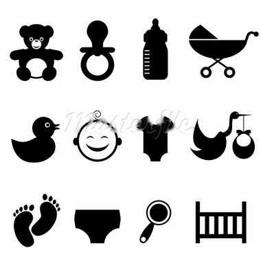 Baby and newborn icon set Stock Photo - Royalty-Free, Artist: soleilc                       , Code: 400-05900893