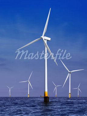 white wind turbine generating electricity on sea Stock Photo - Royalty-Free, Artist: ssuaphoto                     , Code: 400-05901152