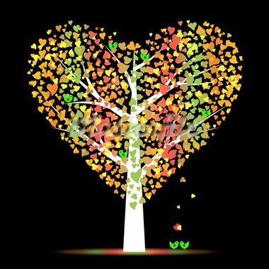Valentine tree with hearts leaves and birds Stock Photo - Royalty-Free, Artist: inbj                          , Code: 400-05902208