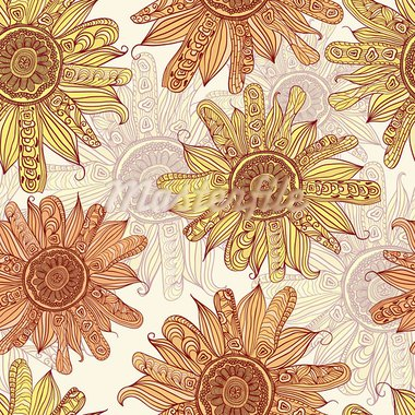 vector hand drawn sunflower seamless pattern Stock Photo - Royalty-Free, Artist: alexmakarova                  , Code: 400-05902664