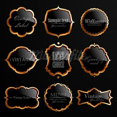 Set of black gold labels. Vector illustration. Stock Photo - Royalty-Free, Artist: MiloArt                       , Code: 400-05904254