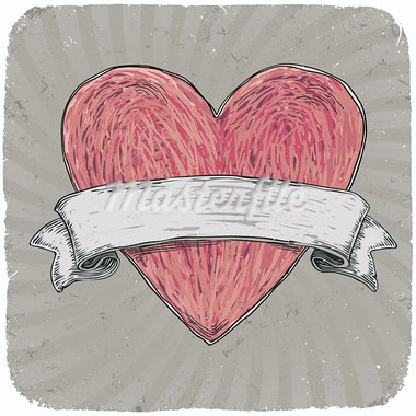 Retro styled tattoo heart with ribbon for your text. Layered. Vector EPS 10 illustration. Vector illustration, EPS10. Stock Photo - Royalty-Free, Artist: pashabo                       , Code: 400-05904698