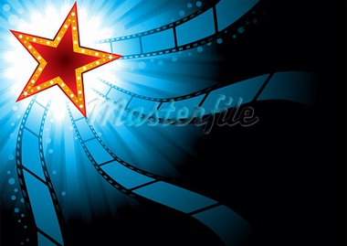 Poster with red star on blue background Stock Photo - Royalty-Free, Artist: oxygen64                      , Code: 400-05905496