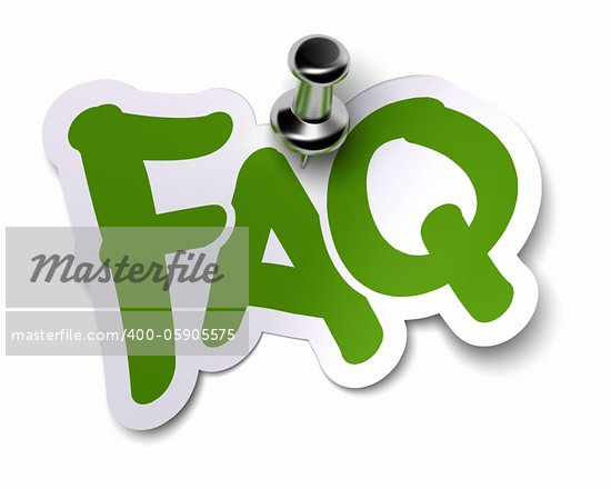 green FAQ sticker over a white background fixed with a metal thumbtack Stock Photo - Royalty-Free, Artist: olivier26                     , Code: 400-05905575
