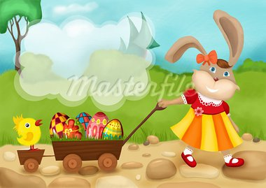 illustration of a cute easter card Stock Photo - Royalty-Free, Artist: nem4a                         , Code: 400-05905834