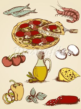 set of vector hand drawn pizza icons Stock Photo - Royalty-Free, Artist: Artspace                      , Code: 400-05906558