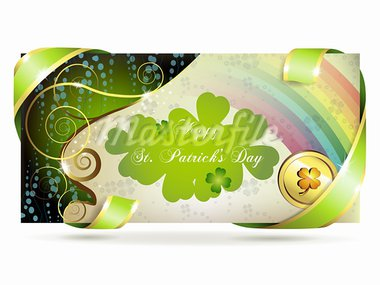 Banner with clover and coin for St. Patrick's Day Stock Photo - Royalty-Free, Artist: Merlinul                      , Code: 400-05906686