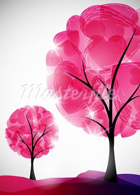 valentine tree, abstract background Stock Photo - Royalty-Free, Artist: Sergio77                      , Code: 400-05907444