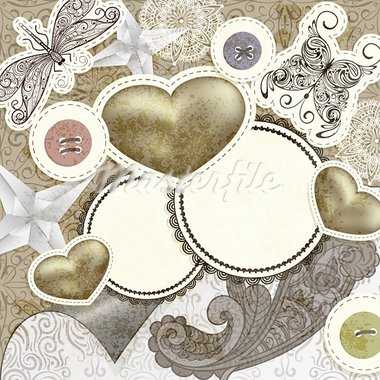 vector vintage scrap template design with hearts, for valentine's day, clipping mask, elements can be used separately Stock Photo - Royalty-Free, Artist: alexmakarova                  , Code: 400-05907610