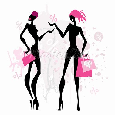 Two women with shopping bags. Vector illustration. Stock Photo - Royalty-Free, Artist: katyau                        , Code: 400-05909058