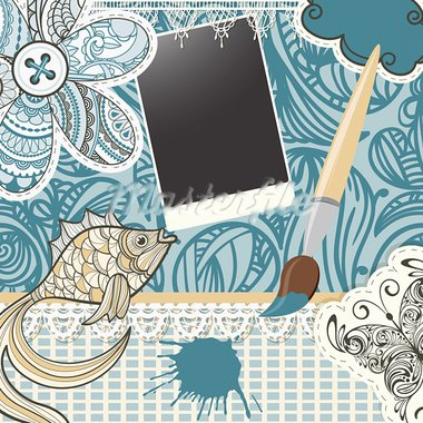 vector scrapbook design pattern on seamless  background. includes elements that can be used separately:photo frame, brush, fish,  butterfly, button, cloud, napkin, and flower Stock Photo - Royalty-Free, Artist: alexmakarova                  , Code: 400-05909812