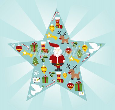 Christmas icon set in star shape background. Vector file available. Stock Photo - Royalty-Free, Artist: cienpiesnf                    , Code: 400-05910154