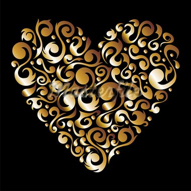 Golden love heart with floral design silhouette background. Vector file available. Stock Photo - Royalty-Free, Artist: cienpiesnf                    , Code: 400-05910298