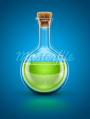 glass chemical flask with green toxic liquid and cork vector illustration EPS10. Transparent objects used for shadows and lights drawing Stock Photo - Royalty-Free, Artist: LoopAll                       , Code: 400-05910716