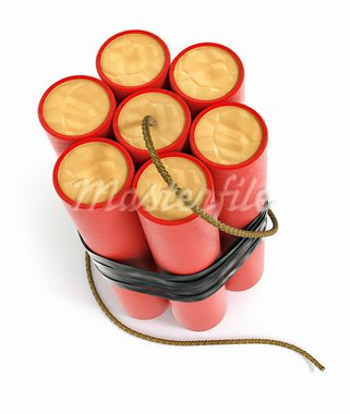 explosive dynamite sticks 3d-illustration isolated on white background with clipping path included Stock Photo - Royalty-Free, Artist: LoopAll                       , Code: 400-05910719