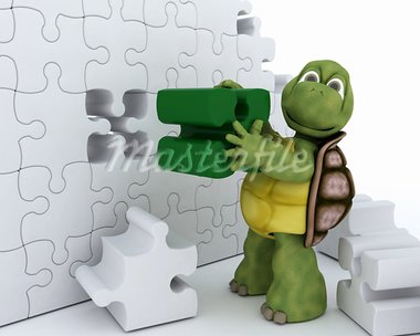 3D Render of a Tortoise with jigsaw puzzle Stock Photo - Royalty-Free, Artist: kirstypargeter                , Code: 400-05910998