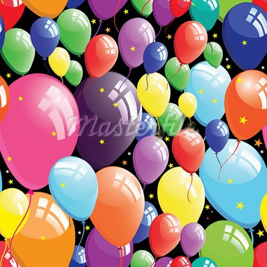 Balloon background, birthday seamless, star circle design element, vector illustration. Stock Photo - Royalty-Free, Artist: svetap                        , Code: 400-05911164
