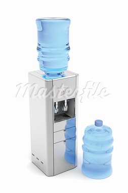 Silver water dispenser with bottles on white Stock Photo - Royalty-Free, Artist: mileatanasov                  , Code: 400-05911184
