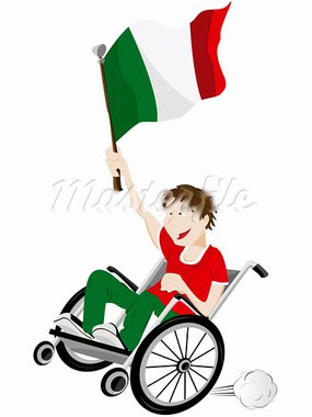 Vector - Italy Sport Fan Supporter on Wheelchair with Flag Stock Photo - Royalty-Free, Artist: gubh83                        , Code: 400-05911530